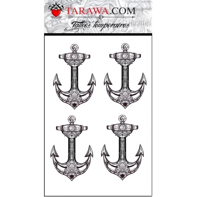 Faux tatouage 4 ancres marine