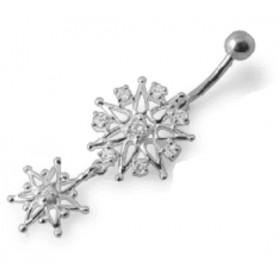 Piercing nombril flocon de neige