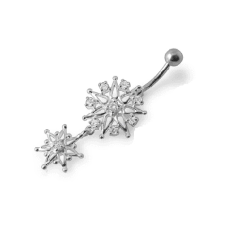 Piercing nombril flocon de neige