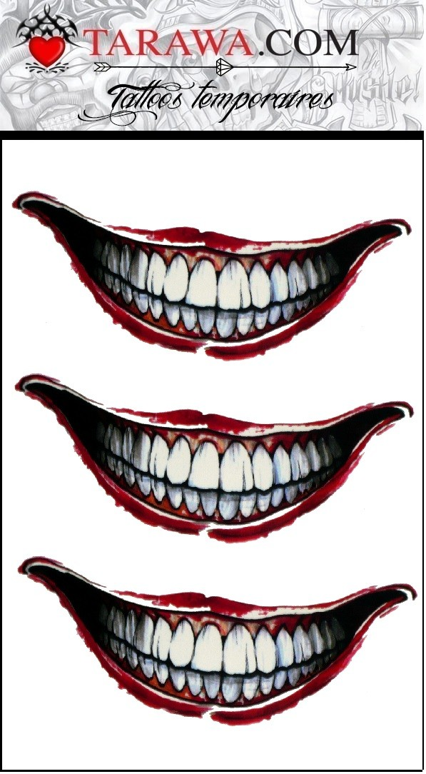 tatouage éphémère bouche du joker suicide squad - tarawa piercing