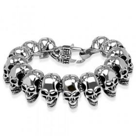Bracelet biker skull homme