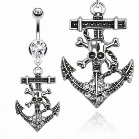Piercing nombril ancre marine Tête de Pirate