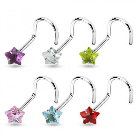Piercing nez acier motif étoile cristal