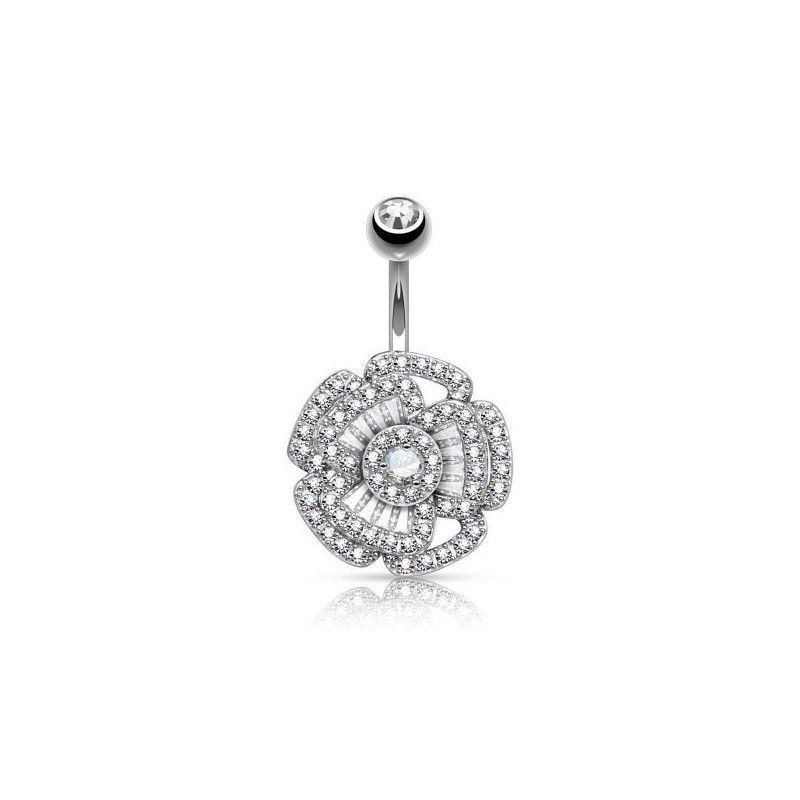 Piercing nombril Fleur multi strass
