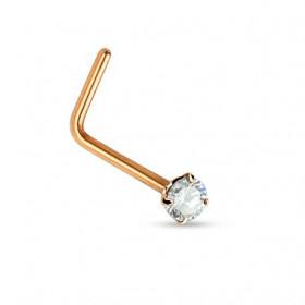 Piercing nez L or rose cristal 2mm