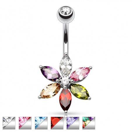 Piercing Nombril Fleur 6 pétales cristal