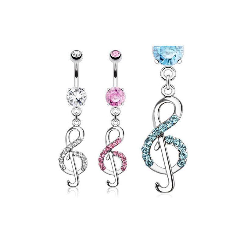 Piercing nombril clef de sol