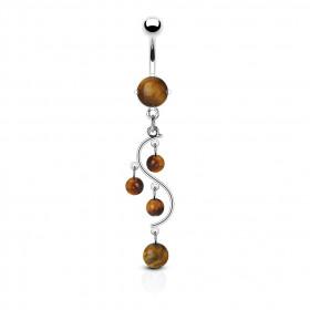 Piercing nombril en acier chirurgical pas cher pendentif vigne pierre semi-précieuse Oeuil du tigre