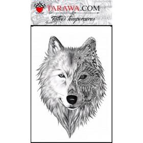 Tatouage éphémère loup Mandalas