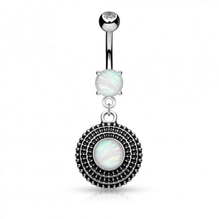 Piercing Nombril Bouclier Opale