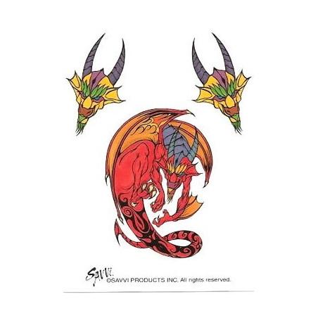 Tatouages Temporaires Dragons rouges