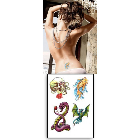 Tatouages Temporaires Serpent Poisson Dragon