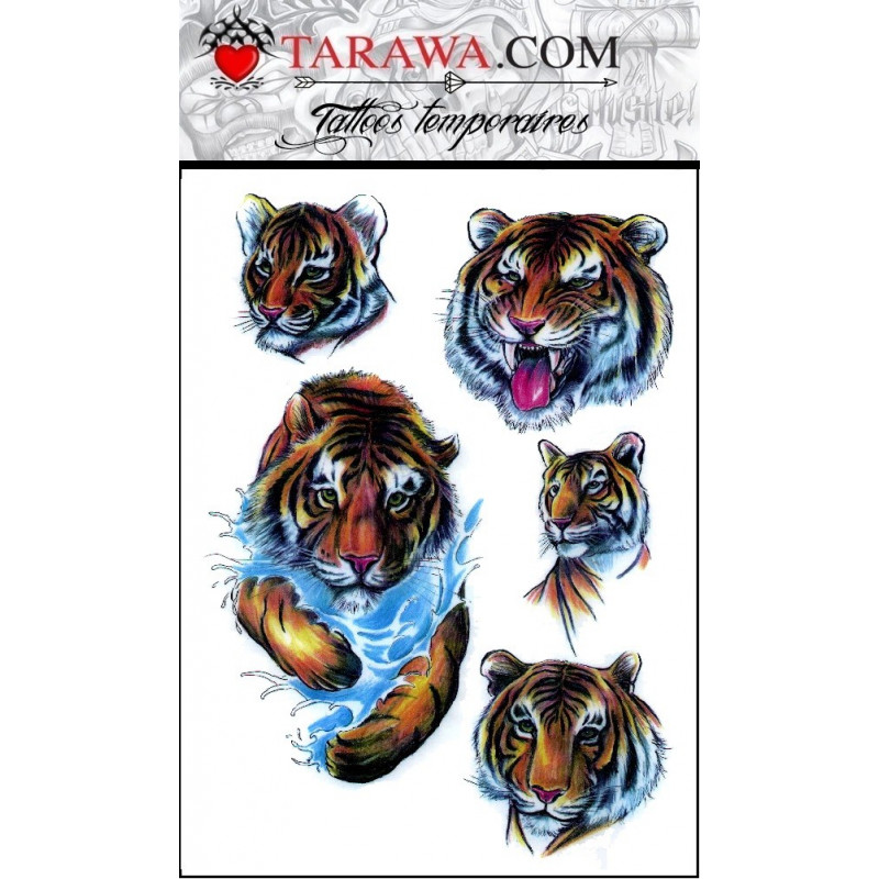 tatouage éphémère tigre