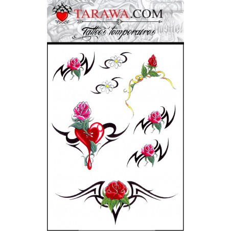 Tatouage Rose Tribal autocollant