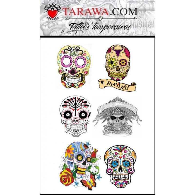 tatouage éphémère sugar skull