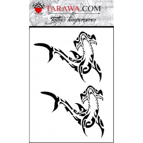 tatouage éphémère requin marteau polynésien