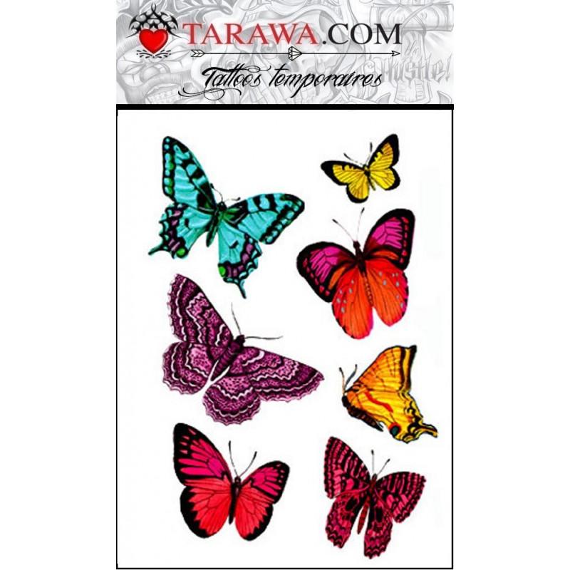 faux tatouage papillons réaliste couleur
