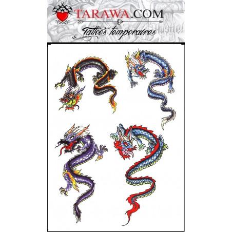 Faux tatouage dragon couleur