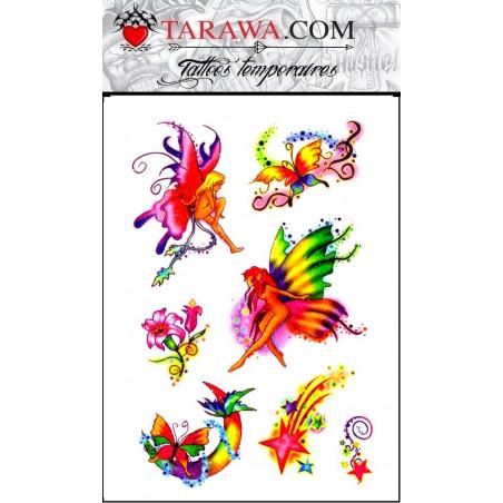 Tatouage temporaire fée fleur étoile