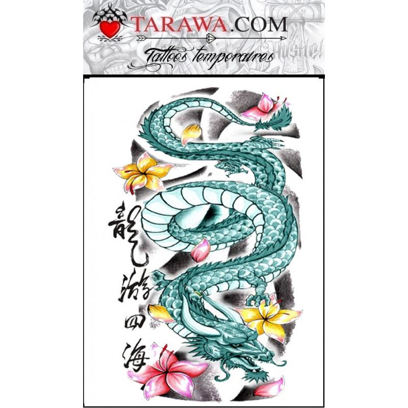 Tatouage temporaire grand dragon japonais tarawa piercing - Dragon japonais ...