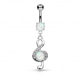 Piercing nombril clé de sol avec opale et strass