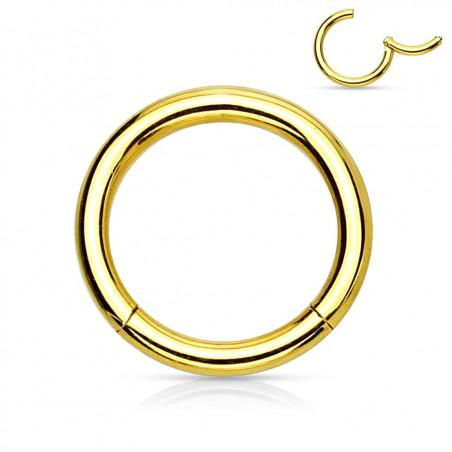 Anneau piercing clip acier doré 1,2 mm