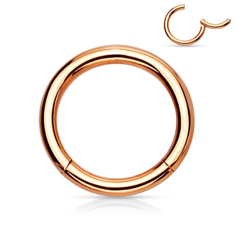Anneau piercing clip acier or rose 1,2 mm
