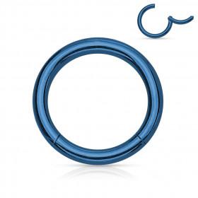Anneau piercing clip acier bleu 1,2 mm