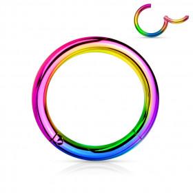 Piercing anneau clip acier multicolore 1,2 mm