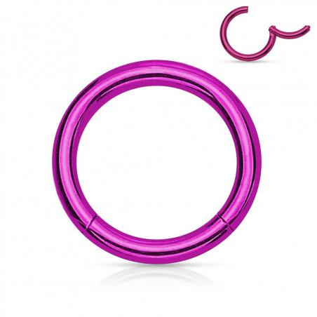 Piercing anneau clip acier violet 1,2 mm