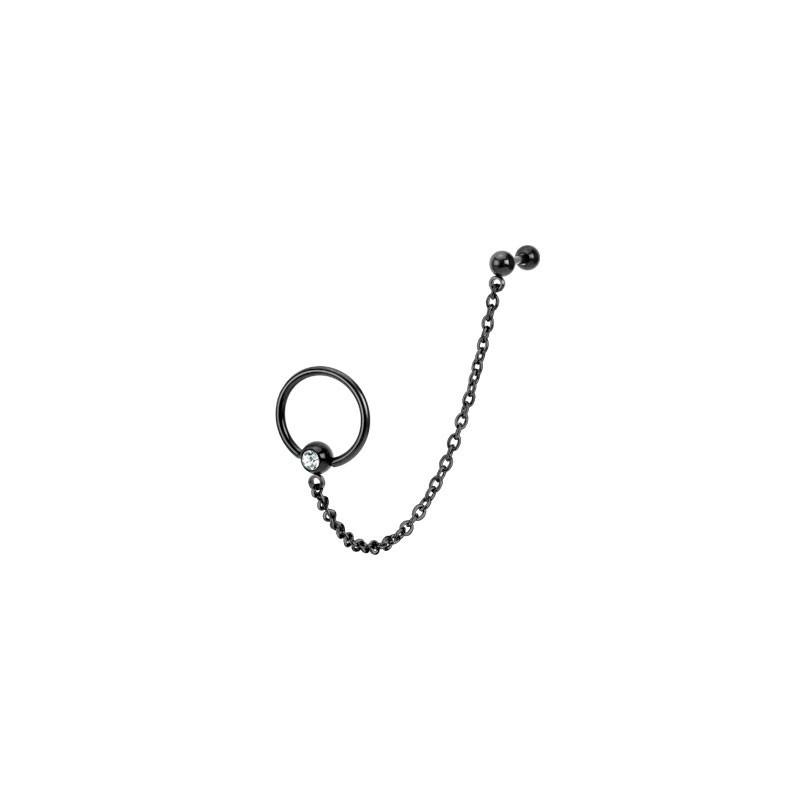 Piercing anneau chaine oreille noir