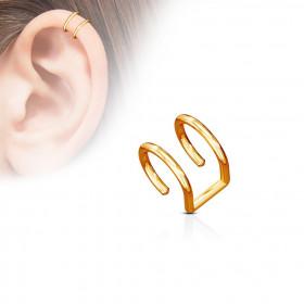 Faux piercing oreille double anneau or rose