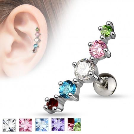 Piercing oreille 5 cristaux