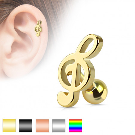 Piercing oreille motif clef de sol en acier chirurgical