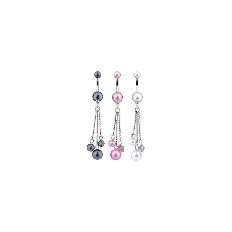 Piercing nombril longue chaine pendande imitation perle