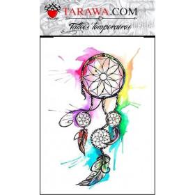 Tatouage temporaire attrape rêve aquarelle