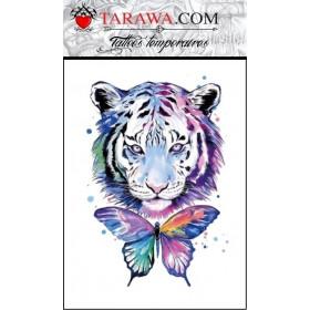 Tatouage tigre papillon aquarelle