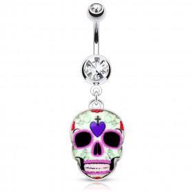 Piercing nombril sugar skull
