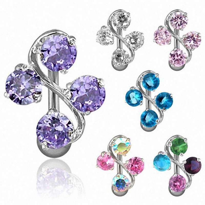Piercing nombril inversé quatre cristaux