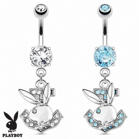 Piercing nombril playboy ancre marine strass