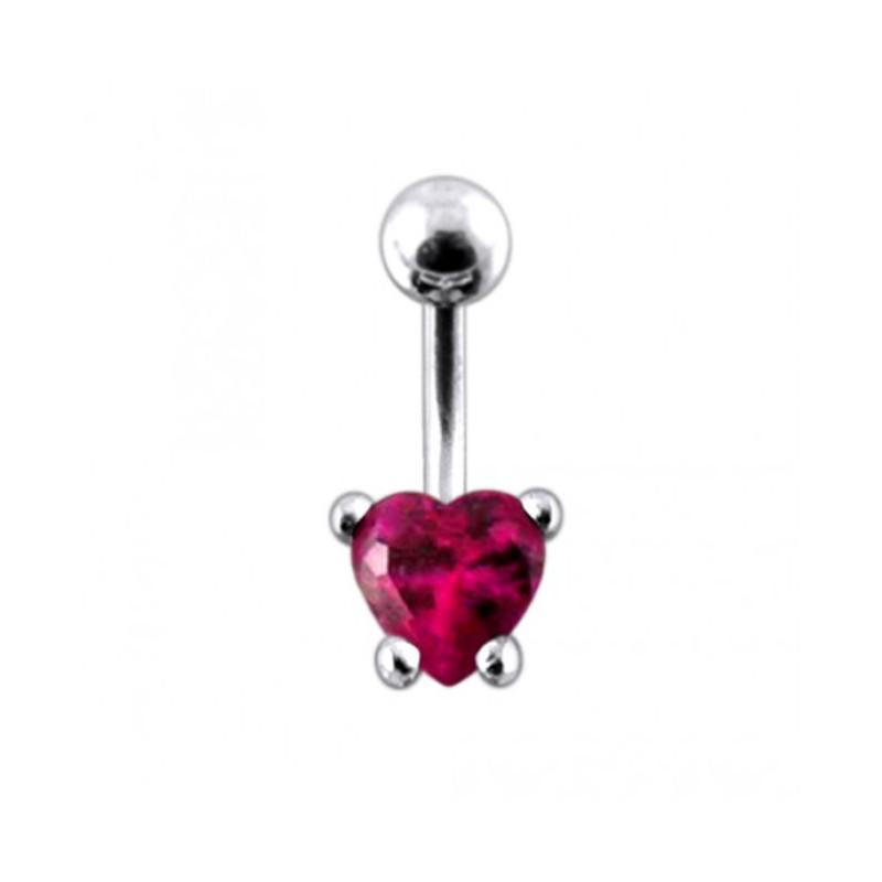 Piercing nombril cœur argent cristal fushia