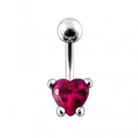 Piercing nombril cœur argent