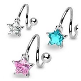 Piercing spirale étoile cristal