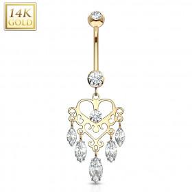 Piercing nombril de luxe en Or jaune Chandelier pendentif marquise