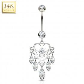 Piercing ventre de luxe en Or blanc Chandelier pendentif marquise