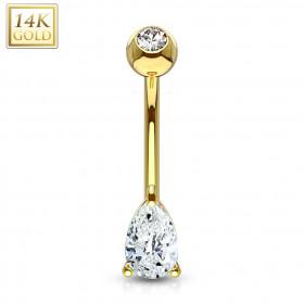 piercing nombril chic en or jaune 14 carat pour femme