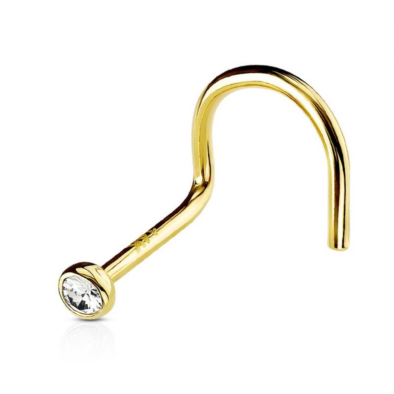 piercing nez en or véritable cristal sertis clos
