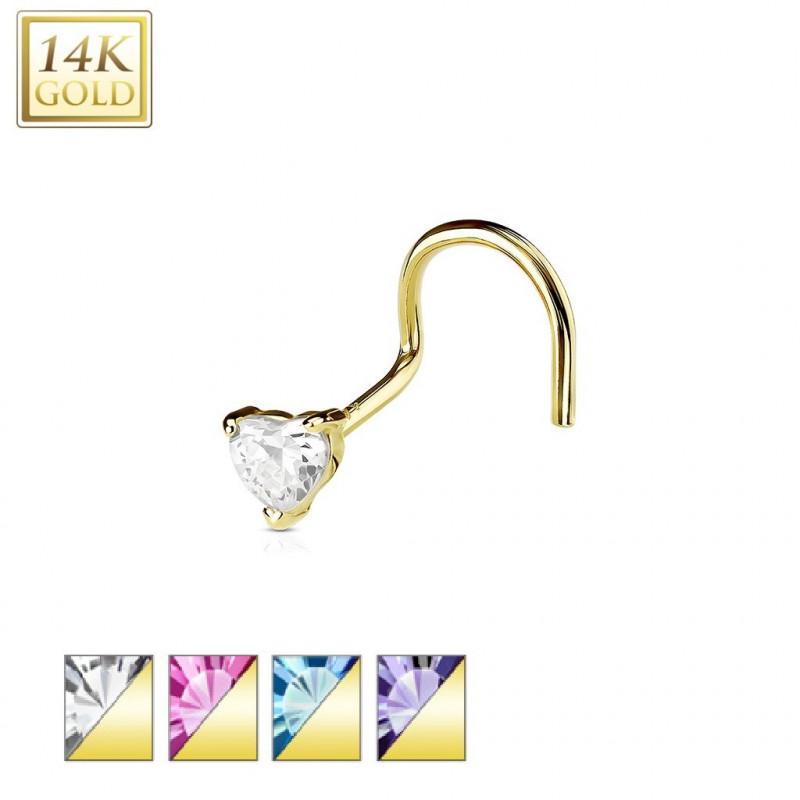 piercing nez coeur en or véritable tige tire bouchon