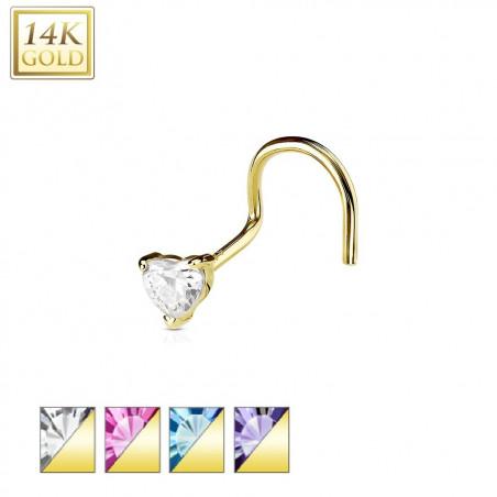 Piercing nez en or cristal coeur