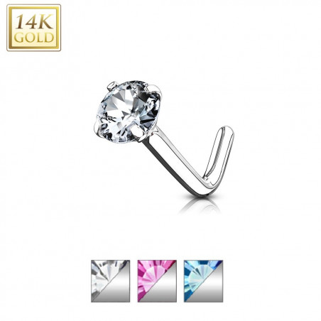 Piercing ner Or blanc cristal 2 mm fome L